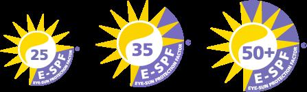BBGR logos des indices E-SPF® qui qualifient la protection globale des verres contre les UV : E-SPF 25, 30 ou 50+