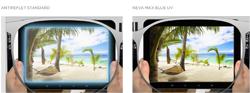 Neva Max Blue UV le traitement anti reflet de BBGR Optique pour réduire la fatigue visuelle des porteurs passant de longues heures sur des écrans et protéger leurs yeux de la lumière bleue issue des lumières artificielles et des outils numériques : écrans d'ordinateur, télévisions, tablettes, consoles de jeux