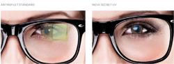 Neva Secret UV de BBGR Optique est un traitement anti reflet incolore qui protège des UV. Neva Secret UV est le meilleur antireflet chromatique sur le marché. Idéal pour les porteurs sensibles à leur apparence et qui souhaitent mettre en avant leur regard grâce à un verre plus transparent sans reflet coloré qui s'adapte à toutes les couleurs de montures